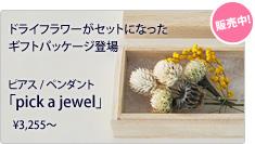 ドライフラワーがセットになったギフトパッケージの「pick a jewel」新登場